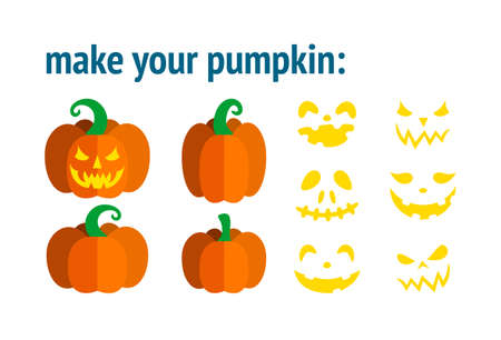 Template for Halloween pumpkin, choose the pumpkin form and face. Make your own customized design. Vector illustration for Halloween party.