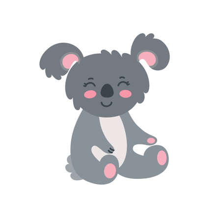 Sitting grey koala isolated on white background. Happy koala with pink cheeks. Vector illustration in cute flat style