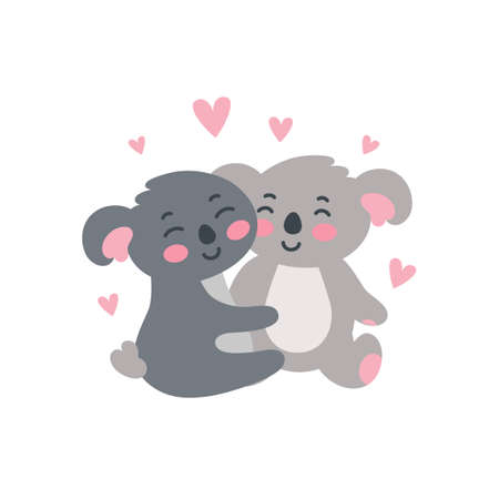 Koala family set. Happy koala children hugging each other. Vector illustration in cute flat style