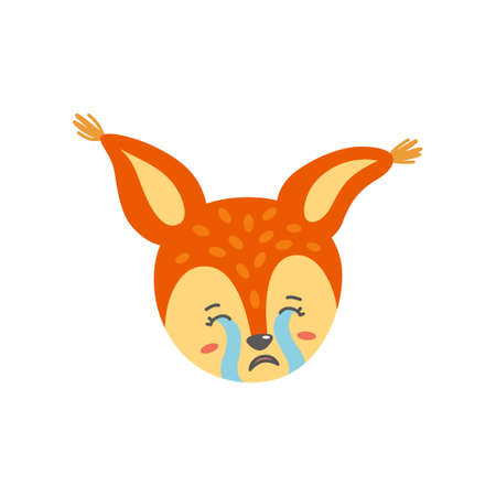 Crying and sad squirrel face. Emotion expression like emoji. Vector illustration in flat style