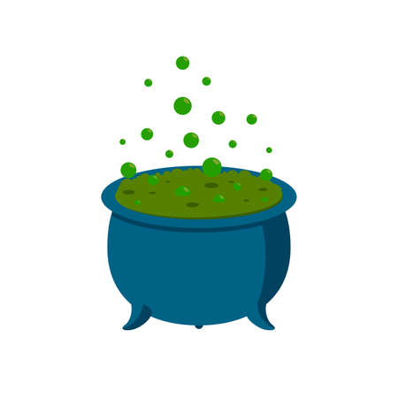 Spooky witch cauldron with green poison and bubbles. Big Halloween pot. Vector illustration for Halloween party. Stock Illustratie