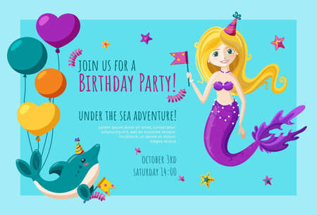 Birthday invitation card with cute little dolphin and mermaid. Ready-made invitation design with balloons, birthday hats and flags. Colorful vector illustration in flat style.