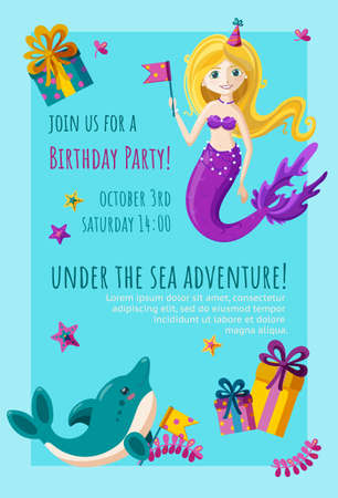 Birthday invitation card with cute little dolphin, mermaid and starfish. Ready-made invitation design with presents and flags. Colorful vector illustration in flat style.