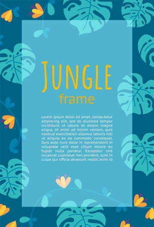 Jungle frame design for presentations and leaflets. Ready-made vertical design. Colorful falt vector illustration with text. Stock Illustratie