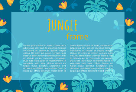 Jungle frame design for presentations and leaflets. Ready-made horizontal design. Colorful falt vector illustration with text.
