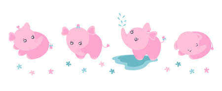 Set of four cute little elephants. Clipart with pink elephants for children products designs. Flat  illustration.
