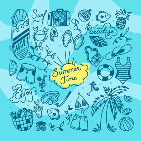 Summer time doodle set. Water sports, relax and tropical holiday objects. Vector illustration in blue background with waves Stock Illustratie