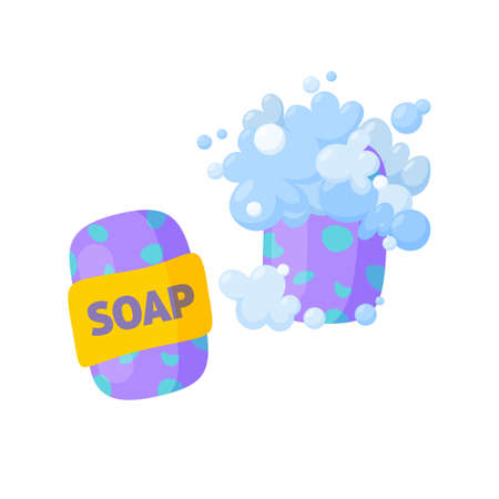 Soap bars, one unused and one with bubbles and foam. Homemade organic soap. Isolated illustration in cartoon style Stock Illustratie