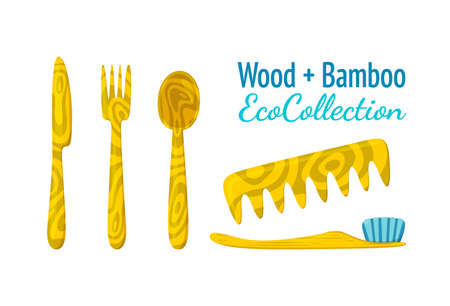Wood and bamboo eco collection. Ecological substitute for plastic knife, fork, spoon, comb and toothbrush. Isolated vector illustration in cartoon style