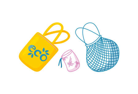 Eco bags for shopping and items carrying. Tissue bag as a substitute for plastic one. Isolated illustration in cartoon style