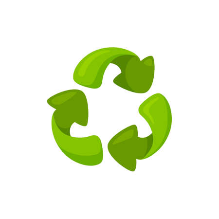 Green symbol of recycling on white