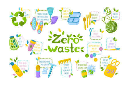 Symbol of recycling, reusable items and go green instructions.