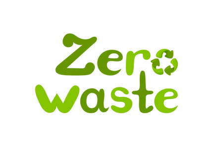 Zero waste inscription with recycle sign. Handdrawn lettering. Vector illustration isolated in white background