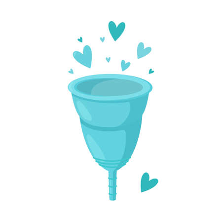 Reusable menstrual cup. With love for those who tend to reuse and zero waste. Isolated vector illustration in cartoon style