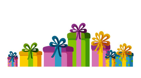Set of present boxes of different sizes and colors. Gifts for a happy holiday. Isolated vector illustration in white background