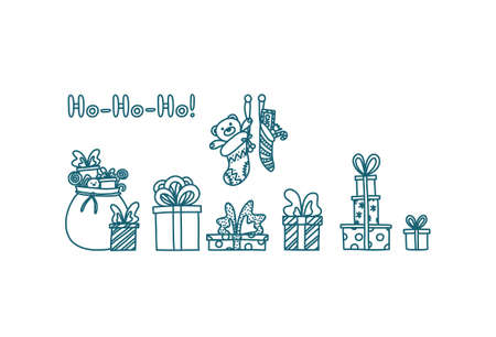 Merry Christmas doodle with presents and toys. Hand drawn sketch with gift boxes. Isolated vector illustration