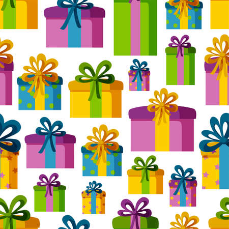 Seamless pattern with present boxes in colorful wrapping paper. Pattern for holyday designs. Vector illustration in flat style