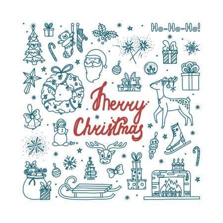 Merry Christmas doodle with all holiday objects. Hand drawn Christmas sketch. Isolated vector illustration