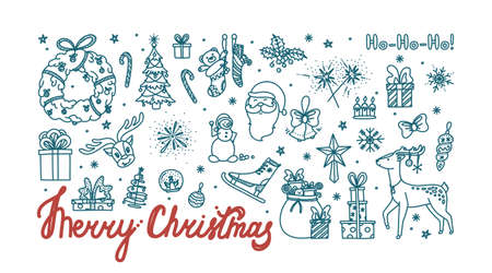 Merry Christmas doodle card with all holiday objects. Hand drawn Christmas sketch. Isolated vector illustration Stock Illustratie