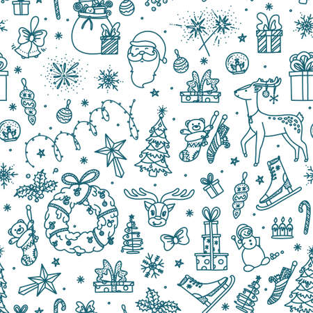 Merry Christmas seamless pattern with toys, presents, reindeer and other objects. Background sketch on Christmas topic. Vector illustration in doodle style Stock Illustratie