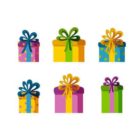 Set of six present boxes of different sizes and colors. Gifts for a happy holiday. Isolated vector illustration in flat style Stock Illustratie