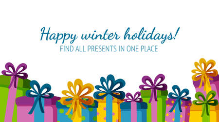 Frame with gifts for holiday banners. Colorful present boxes. Vector illustration in flat style