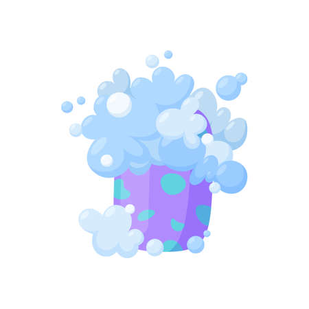 Soap bar with bubbles and foam. Homemade organic soap. Isolated vector illustration in cartoon style