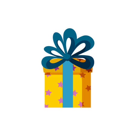 Colorful present box. Gift for a happy holiday. Isolated vector illustration in flat style Stock Illustratie