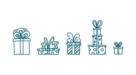 Doodle with presents and toys. Hand drawn sketch with gift boxes. Isolated vector illustration Stock Illustratie