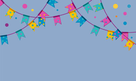 Festival flag garlands with confetti. Colorful flags on string hanging from above. Upper frame for banners. Flat vector illustration Stock Illustratie