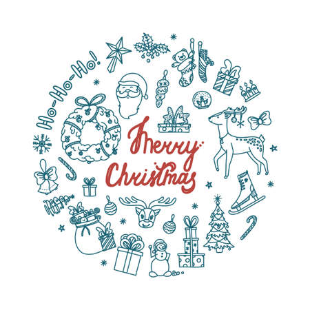 Circle design of Christmas doodle with all holiday objects. Hand drawn Christmas sketch. Isolated vector illustration