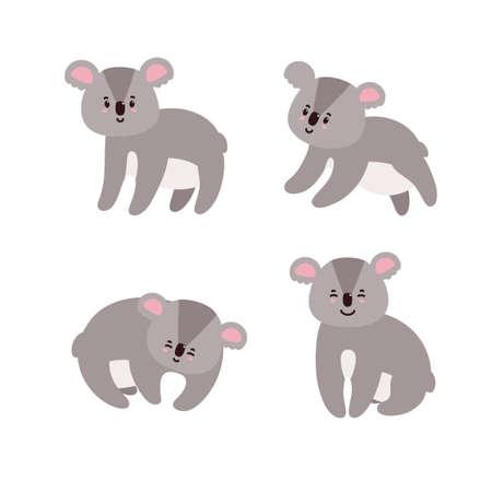 Set of adorable koalas. Happy koalas isolated in white background. Vector illustration in cartoon style