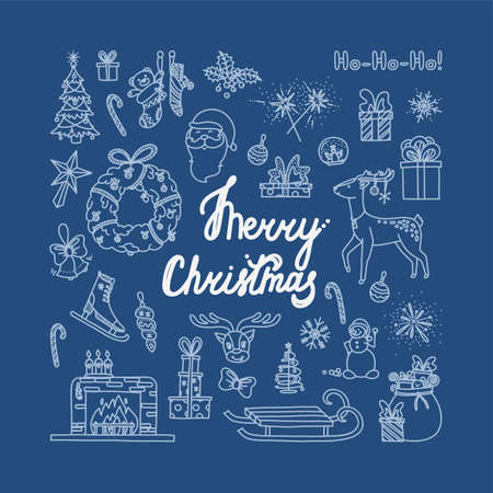 Merry Christmas doodle with all holiday objects. Hand drawn Christmas sketch. Isolated vector illustration in blue background