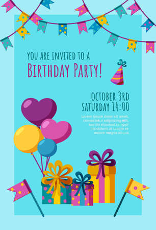 Birthday invitation card. Ready-made invitation design with presents, balloons and flags. Colorful vector illustration in flat style.