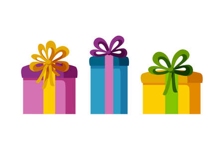 Set of three present boxes of different sizes and colors. Gifts for a happy holiday. Isolated vector illustration in flat style Stock Illustratie