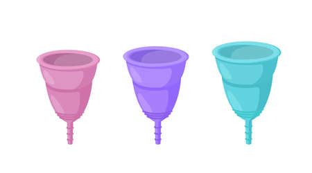 Reusable menstrual cups of defferent sized and colors. Sanitary items for women who tend to reuse and zero waste. Isolated vector illustration in cartoon style Stock Illustratie