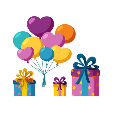 Bunch of balloons and set of present boxes. Flying balloons and colorful presents for a party or celebration. Flat vector illustration isolated in white background
