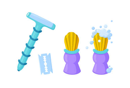 Eco collection for shaving. Stainless steel razor, blade and shaving brush with foam. Isolated vector illustration in cartoon style