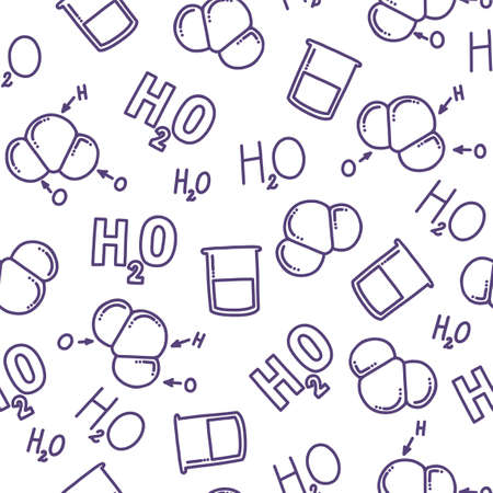 Chemical seamless pattern with H2O. Different representations of water. Molecule, liquid and chemical formula of water. Hand drawn pattern for backgrounds and prints. Doodle vector illustration Stock Illustratie