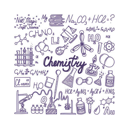 Big chemistry banner with lettering. Hand drawn objects associated with chemistry, elements and experiments. Vector illustration in doodle style