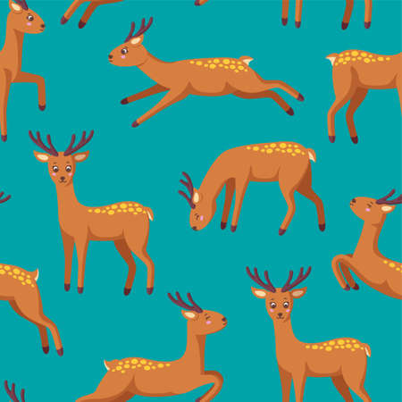 Cheerful reindeers in seamless pattern for various prints and designs. Jumping, standing, running, drinking reindeer in cartoon style. Vector illustration in blue seamless background 일러스트