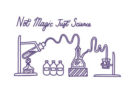 Set of chemical laboratory equipment. Glass flasks, test tube, beaker, spirit lamp and chemical agents. Hand drawn  illustration in doodle style Illusztráció