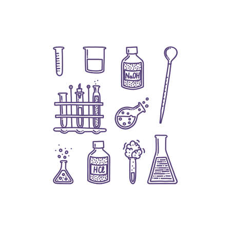 Set of hand drawn objects associated with chemistry and experiments. Test tubes, pipette, chemical agents and reactions. Isolated  illustration in doodle style
