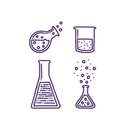 Set of hand drawn objects associated with chemistry and experiments. Test tubes, pipette, chemical agents and reactions. Isolated illustration in doodle style Stock Illustratie