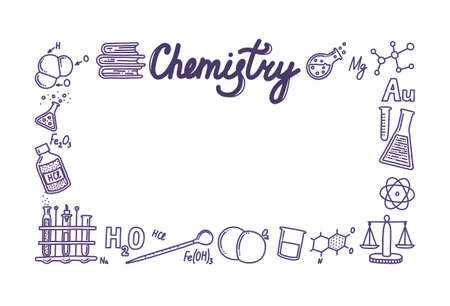 Rectangular box composed of chemistry icons. Frame for your designs and texts. Test tubes, reactions, atom, molecules, formula and other scientific items. Vector illustration in doodle style
