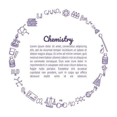 Circle box composed of chemistry icons. Round frame for your designs and texts. Test tubes, reactions, atom, molecules, formula and other scientific items. Vector illustration in doodle style