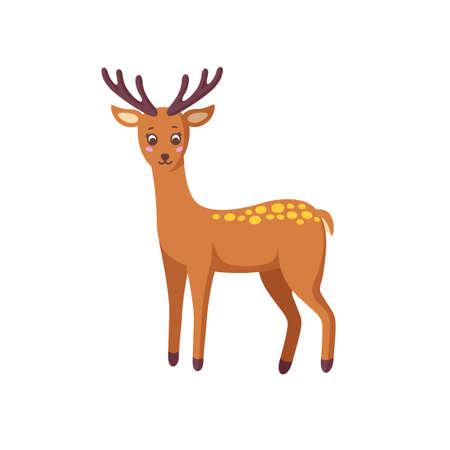 Standing reindeer isolated on white background. Woodland deer in nice cartoon style. Stock Illustratie