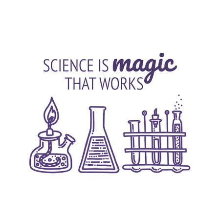Set of chemical laboratory equipment with typography. Glass flasks, test tubes, spirit lamp and chemical agents. Hand drawn vector illustration in doodle style