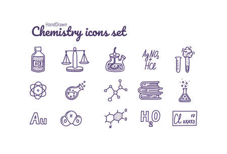 Chemistry icons set. Hand drawn chemical pictograms. Test tubes, reactions, atom, molecules, formula and other scientific items. Illustration in doodle style