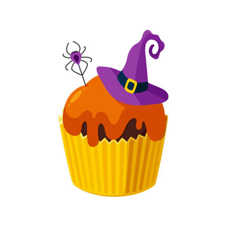 Halloween cupcake with spider and witch hat. Colorful dessert for spooky halloween party. Vector illustration in cute cartoon style Stock Illustratie